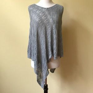 Kim Rogers Soft Knit Lace Gray Poncho